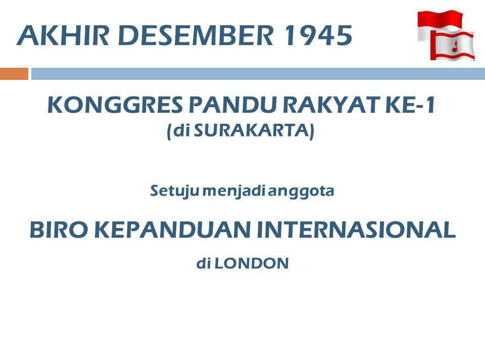 AKHIR DESEMBER 1945 KONGGRES PANDU RAKYAT KE-1