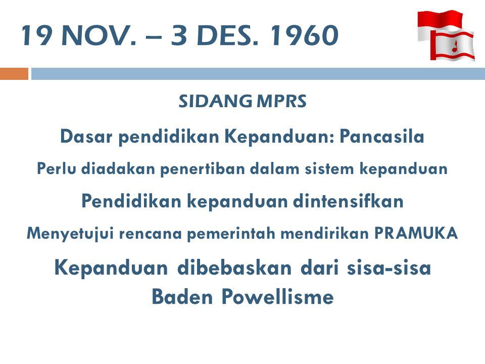 19 NOV. – 3 DES. 1960 SIDANG MPRS. Dasar pendidikan Kepanduan: Pancasila. Perlu diadakan penertiban dalam sistem kepanduan.