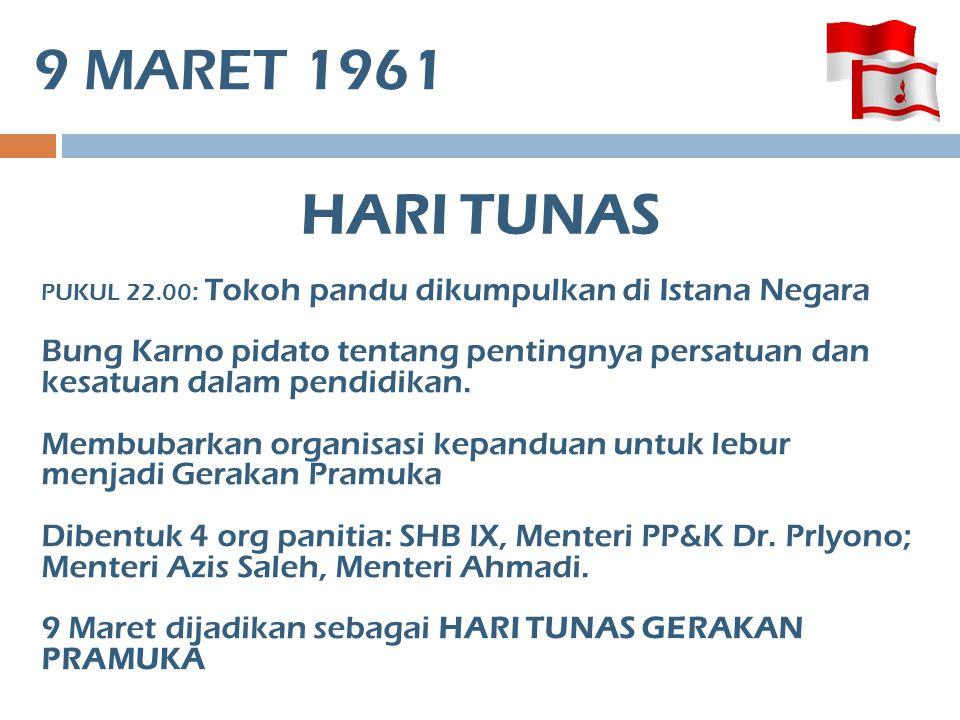 9 MARET 1961 HARI TUNAS. PUKUL 22.00: Tokoh pandu dikumpulkan di Istana Negara.