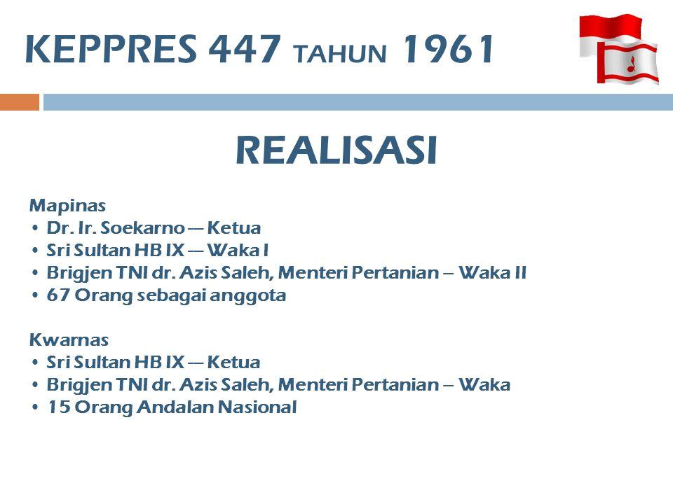KEPPRES 447 TAHUN 1961 REALISASI Mapinas Dr. Ir. Soekarno --- Ketua