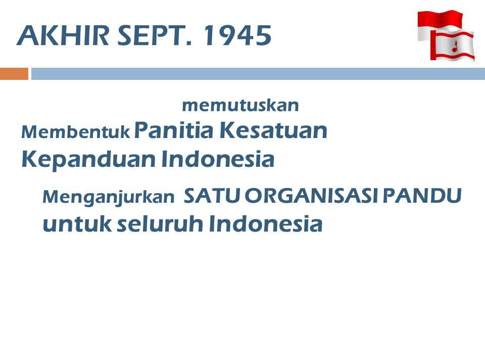 AKHIR SEPT. 1945 untuk seluruh Indonesia memutuskan