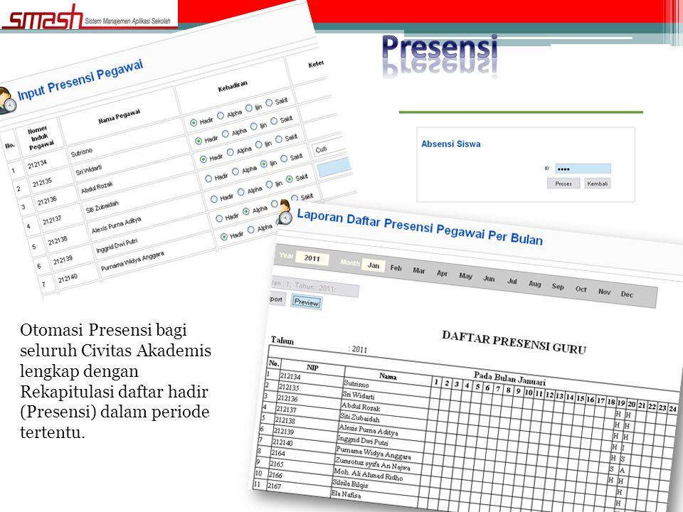 Presensi Otomasi Presensi bagi seluruh Civitas Akademis lengkap dengan Rekapitulasi daftar hadir (Presensi) dalam periode tertentu.