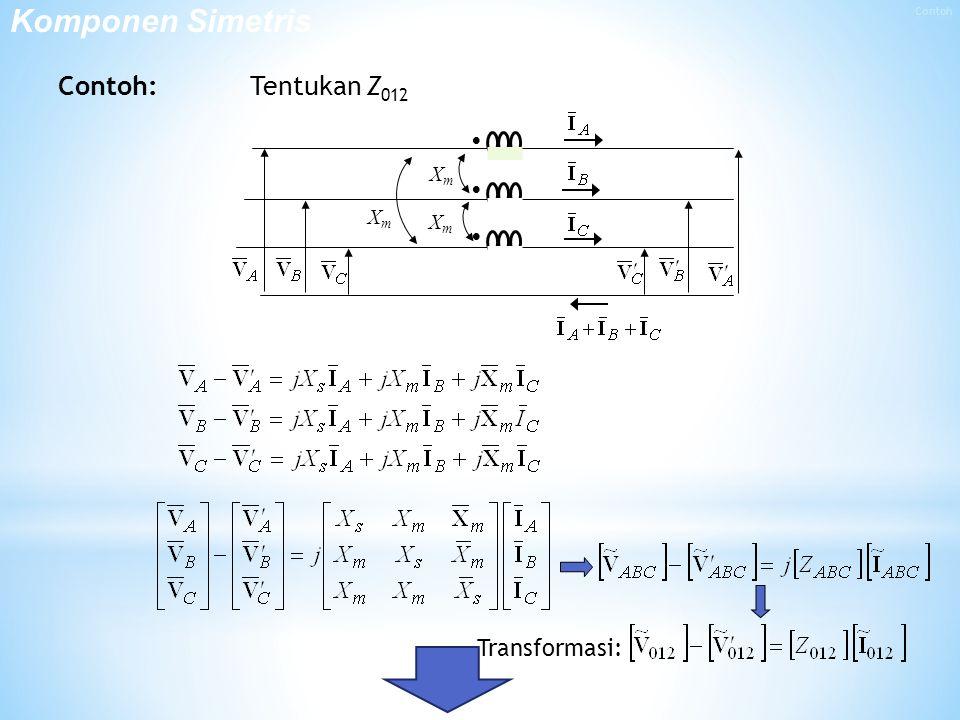 Komponen Simetris Contoh Contoh: Tentukan Z012  Xm Transformasi:
