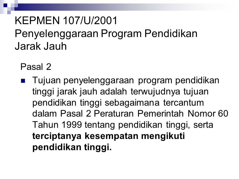 KEPMEN 107/U/2001 Penyelenggaraan Program Pendidikan Jarak Jauh