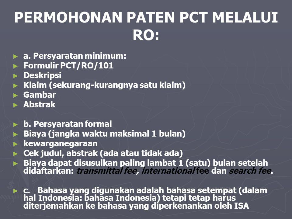 PERMOHONAN PATEN PCT MELALUI RO:
