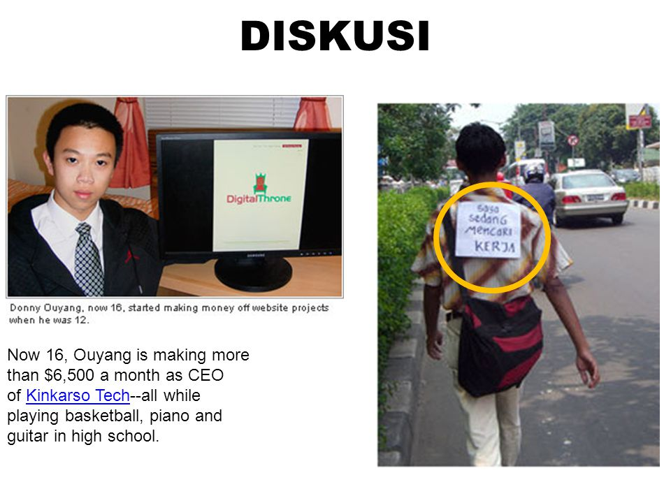 DISKUSI Now 16, Ouyang is making more than $6,500 a month as CEO of Kinkarso Tech--all while playing basketball, piano and guitar in high school.
