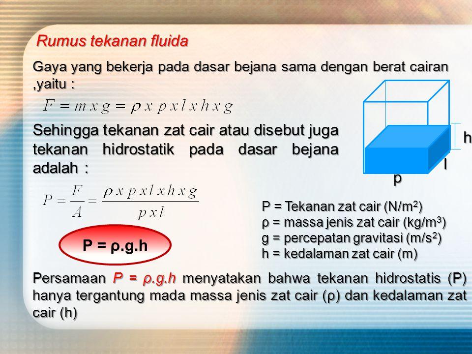 Rumus tekanan fluida Gaya yang bekerja pada dasar bejana sama dengan berat cairan ,yaitu :
