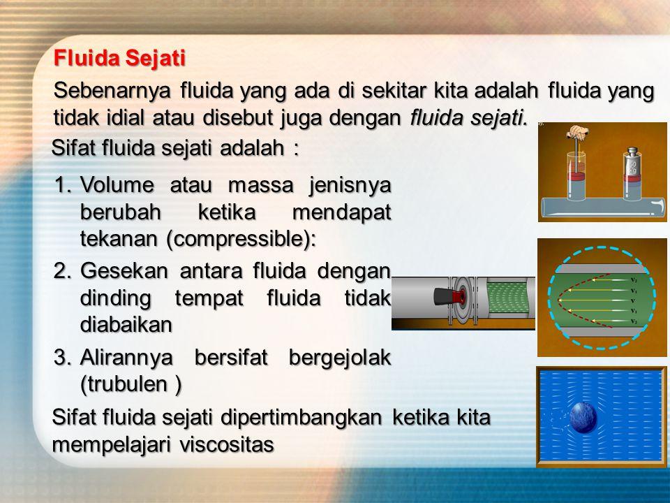 Fluida Sejati Sebenarnya fluida yang ada di sekitar kita adalah fluida yang tidak idial atau disebut juga dengan fluida sejati.