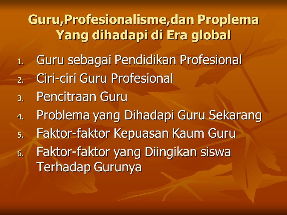 Guru,Profesionalisme,dan Proplema Yang dihadapi di Era global