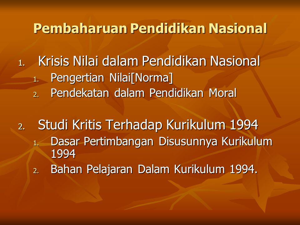 Pembaharuan Pendidikan Nasional