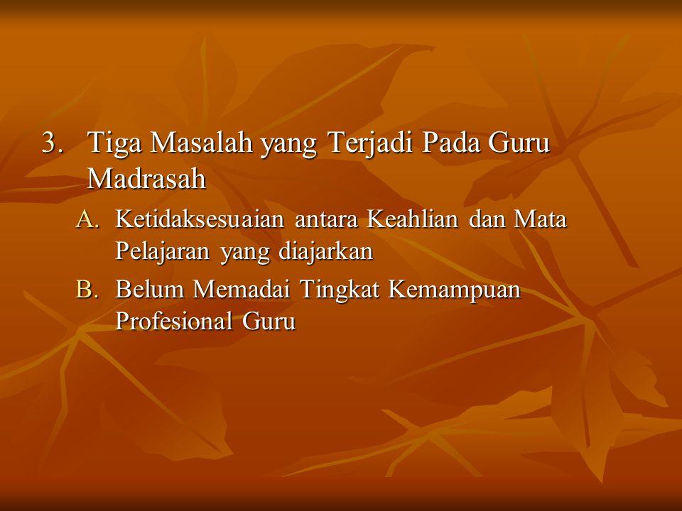 Tiga Masalah yang Terjadi Pada Guru Madrasah