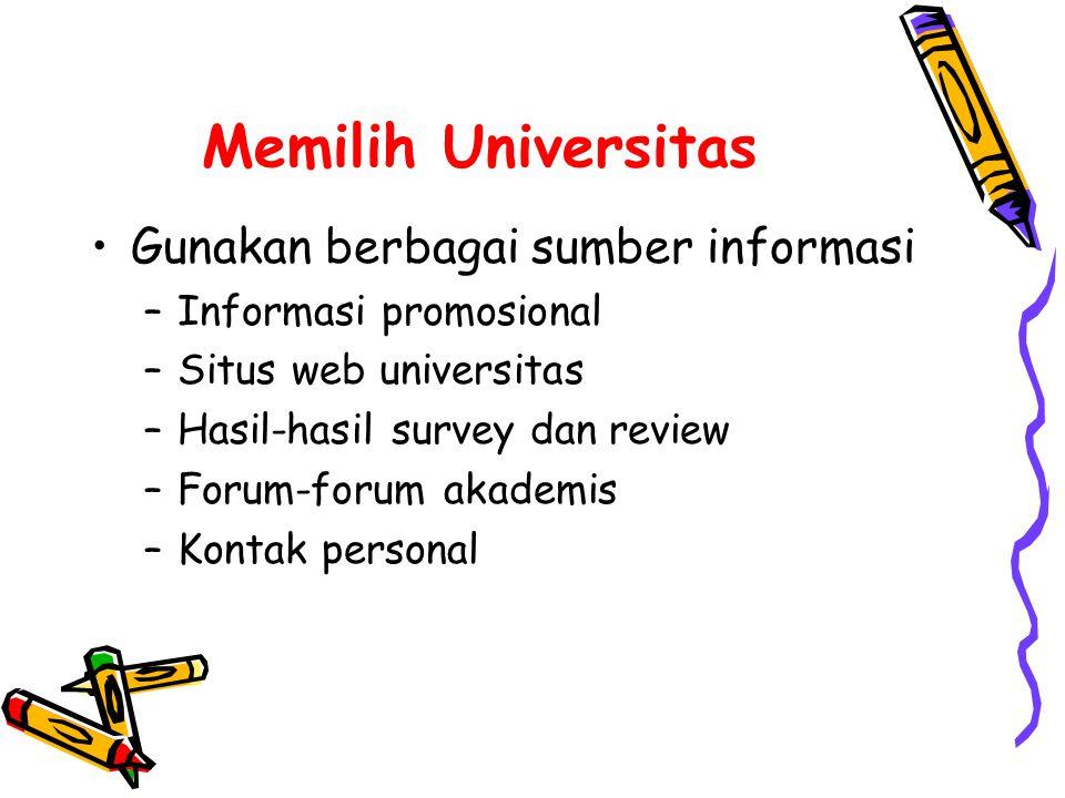 Memilih Universitas Gunakan berbagai sumber informasi