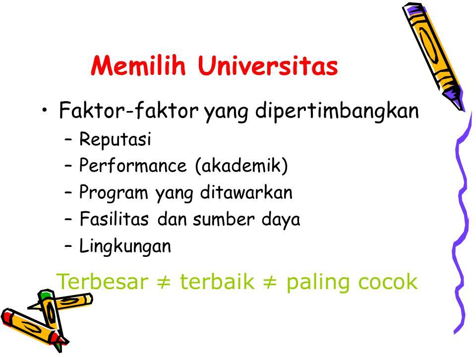 Memilih Universitas Faktor-faktor yang dipertimbangkan