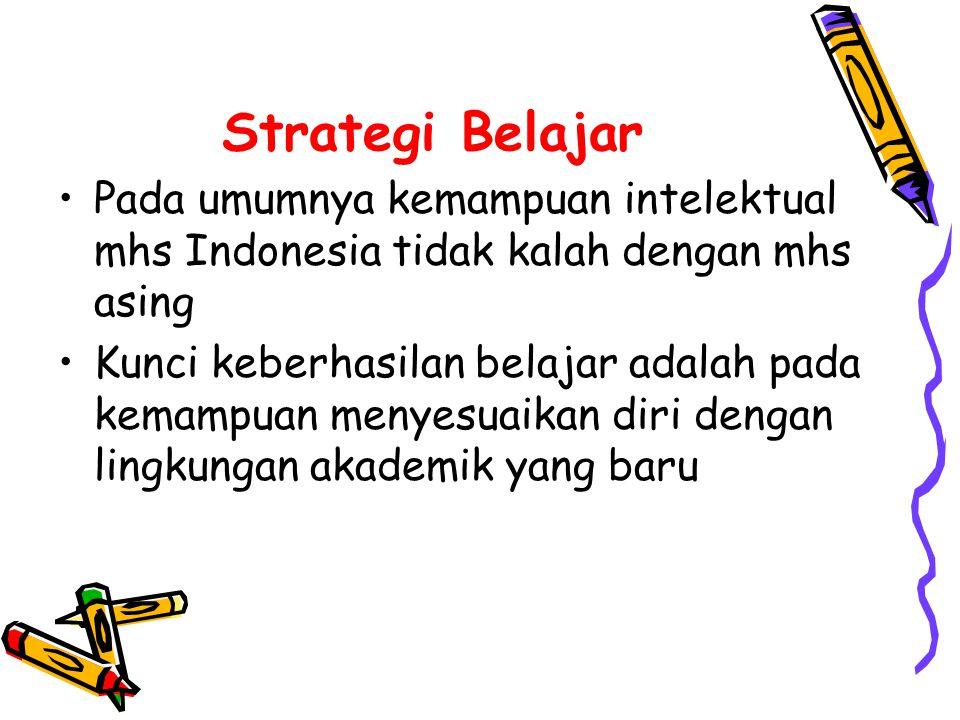 Strategi Belajar Pada umumnya kemampuan intelektual mhs Indonesia tidak kalah dengan mhs asing.