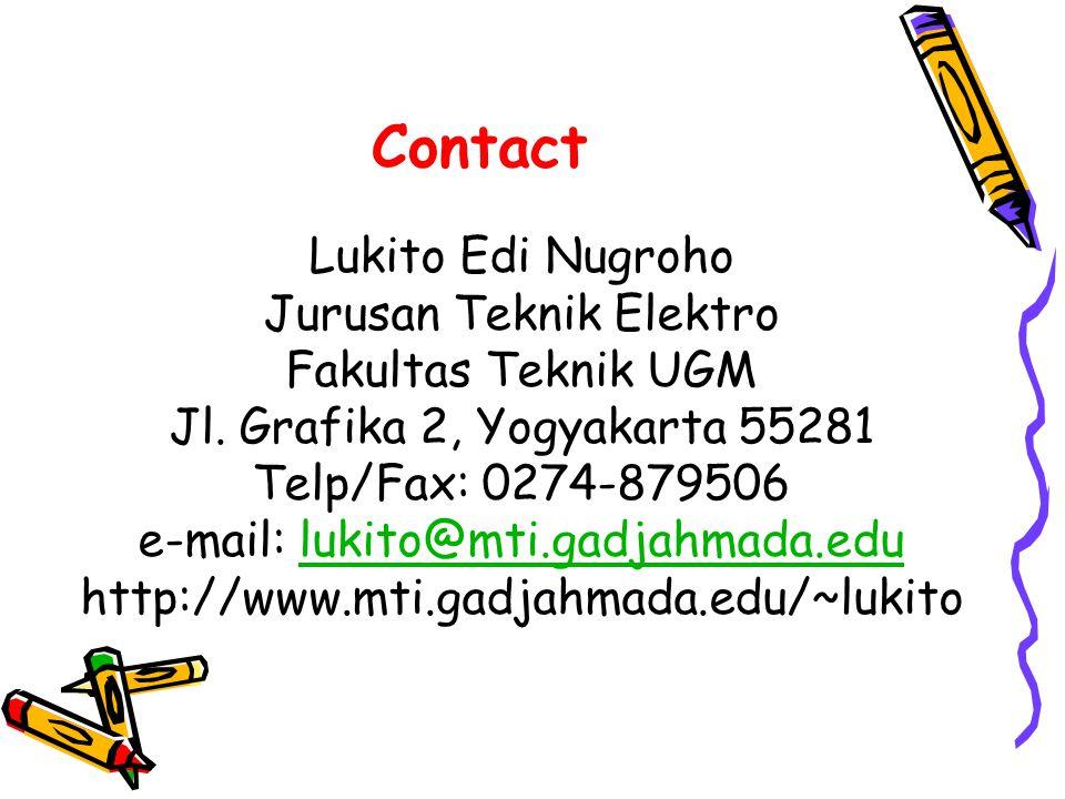 Contact Lukito Edi Nugroho Jurusan Teknik Elektro Fakultas Teknik UGM