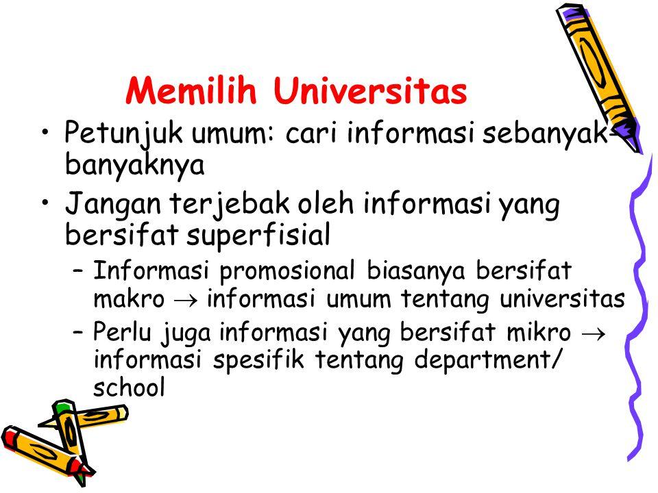 Memilih Universitas Petunjuk umum: cari informasi sebanyak-banyaknya
