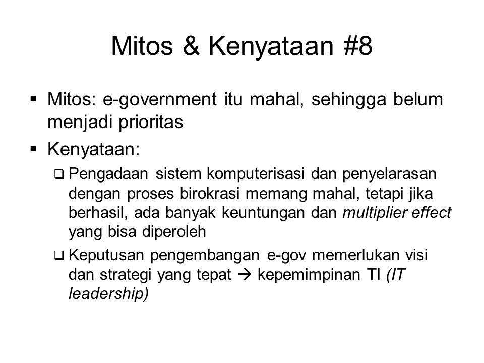 Mitos & Kenyataan #8 Mitos: e-government itu mahal, sehingga belum menjadi prioritas. Kenyataan: