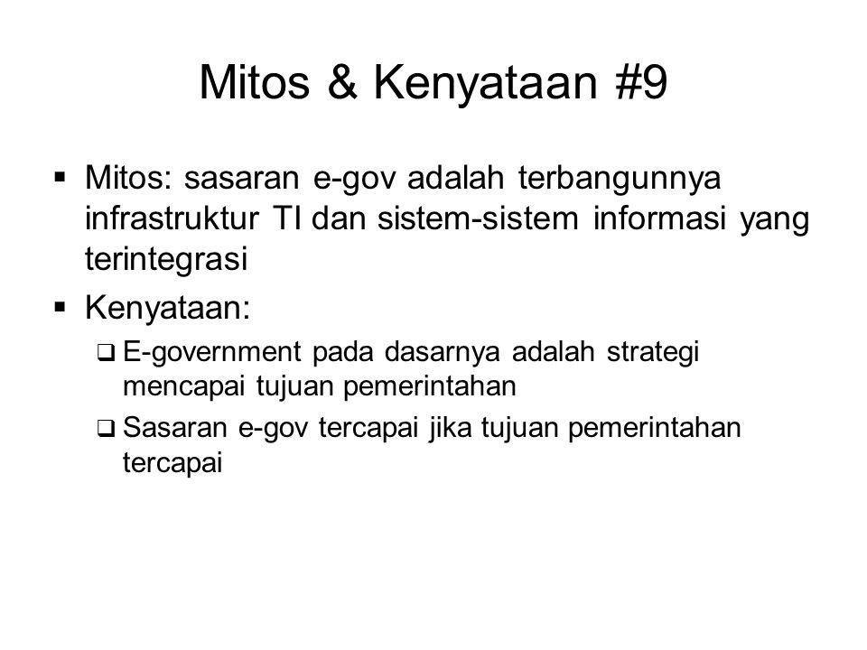 Mitos & Kenyataan #9 Mitos: sasaran e-gov adalah terbangunnya infrastruktur TI dan sistem-sistem informasi yang terintegrasi.