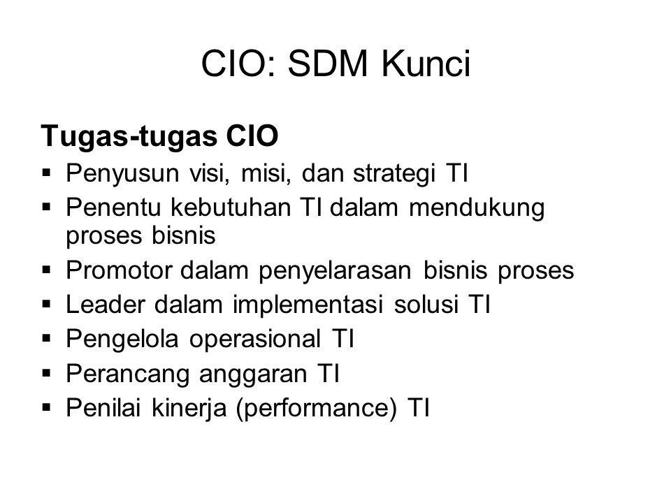 CIO: SDM Kunci Tugas-tugas CIO Penyusun visi, misi, dan strategi TI