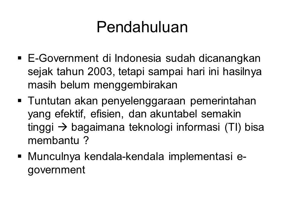 Pendahuluan E-Government di Indonesia sudah dicanangkan sejak tahun 2003, tetapi sampai hari ini hasilnya masih belum menggembirakan.