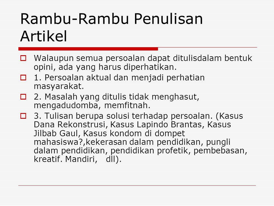Rambu-Rambu Penulisan Artikel