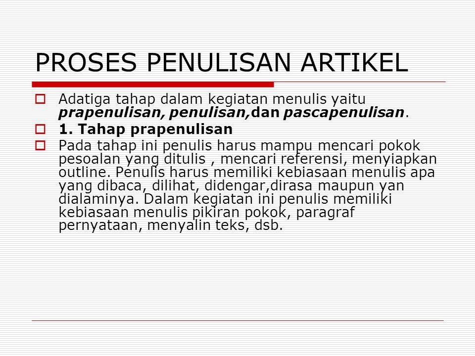 PROSES PENULISAN ARTIKEL