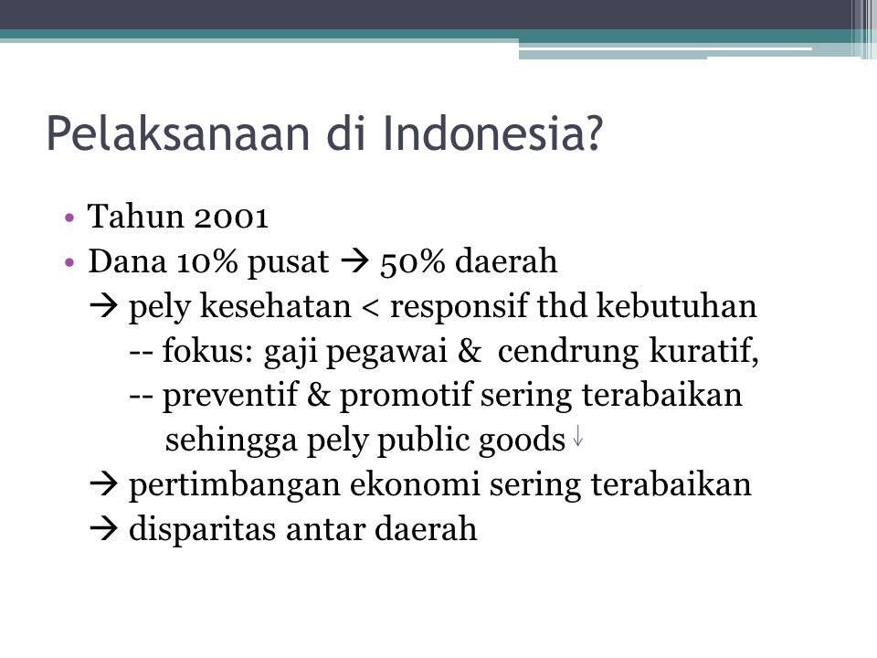 Pelaksanaan di Indonesia
