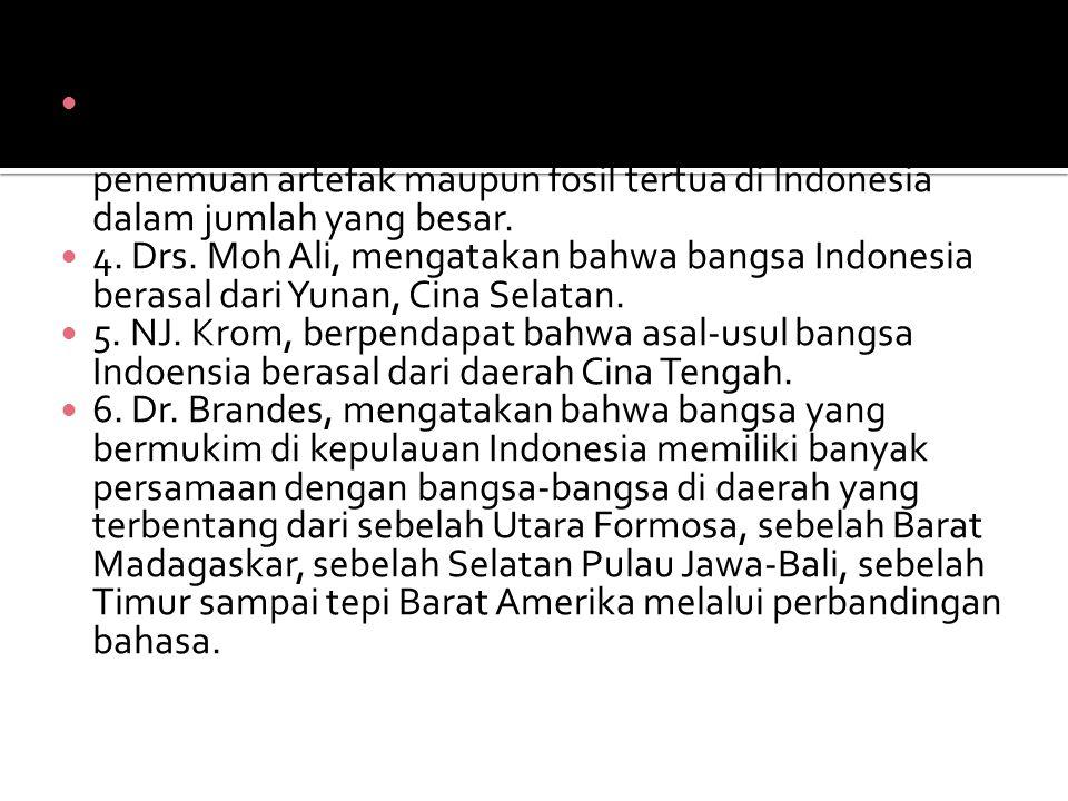 3. Moh. Yamin, mengatakan bahwa bangsa Indonesia berasal dari Indonesia. Dia melihat bahwa banyak penemuan artefak maupun fosil tertua di Indonesia dalam jumlah yang besar.