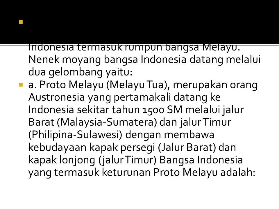 7. Pendapat beberapa ahli, mengatakan bahwa masyarakat yang menempati wilayah-wilayah Indonesia termasuk rumpun bangsa Melayu. Nenek moyang bangsa Indonesia datang melalui dua gelombang yaitu: