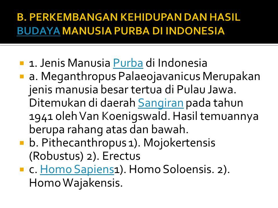 B. PERKEMBANGAN KEHIDUPAN DAN HASIL BUDAYA MANUSIA PURBA DI INDONESIA
