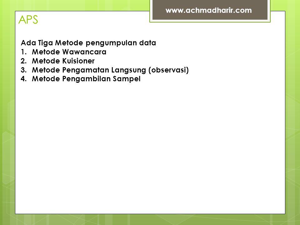 APS www.achmadharir.com Ada Tiga Metode pengumpulan data