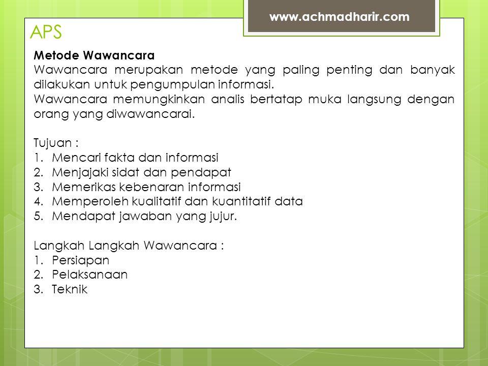 APS www.achmadharir.com Metode Wawancara