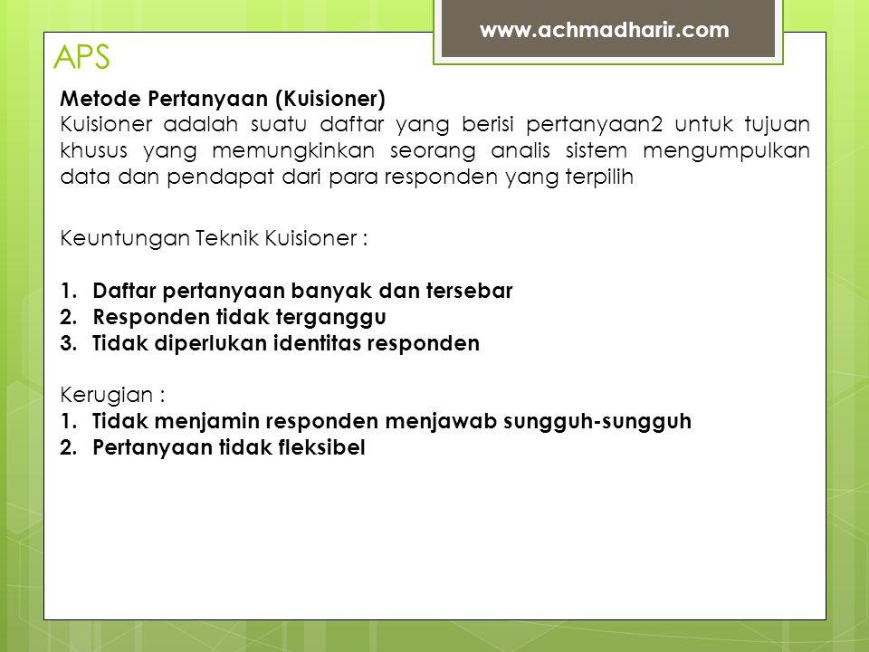 APS www.achmadharir.com Metode Pertanyaan (Kuisioner)