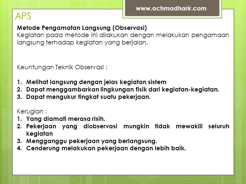 APS www.achmadharir.com Metode Pengamatan Langsung (Observasi)