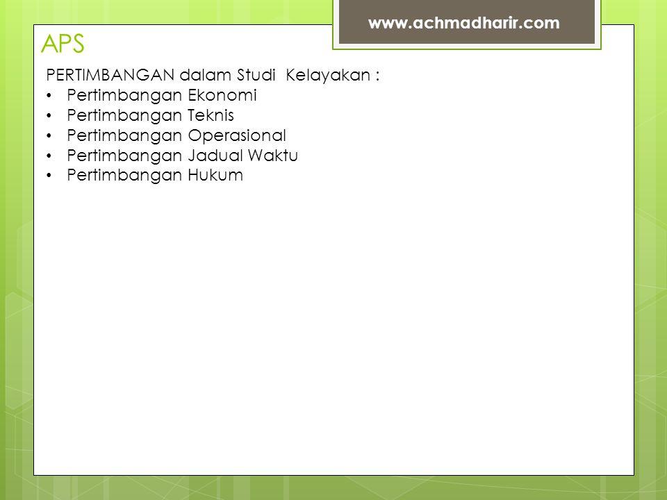 APS www.achmadharir.com PERTIMBANGAN dalam Studi Kelayakan :