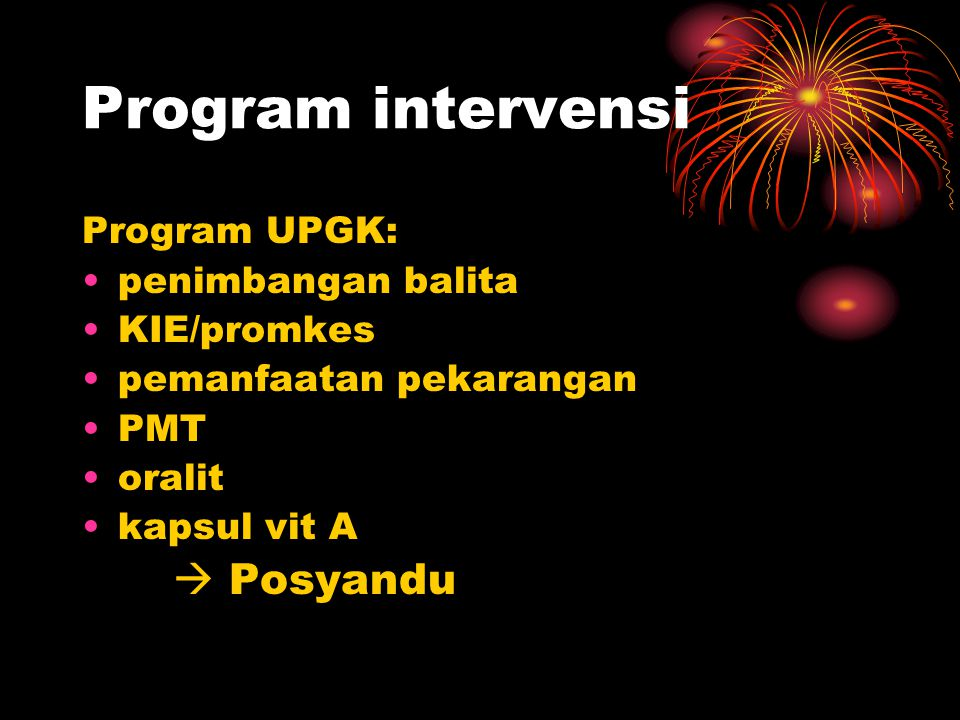 Program intervensi Program UPGK: penimbangan balita KIE/promkes