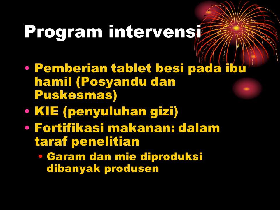 Program intervensi Pemberian tablet besi pada ibu hamil (Posyandu dan Puskesmas) KIE (penyuluhan gizi)