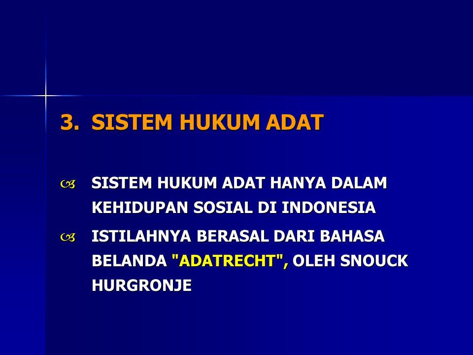 SISTEM HUKUM ADAT SISTEM HUKUM ADAT HANYA DALAM KEHIDUPAN SOSIAL DI INDONESIA.