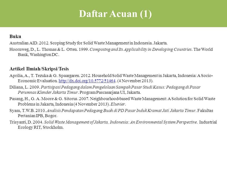 Daftar Acuan (1) Buku Artikel Ilmiah/Skripsi/Tesis
