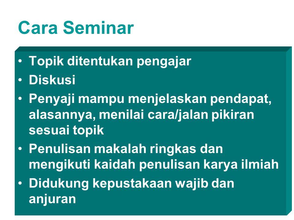 Cara Seminar Topik ditentukan pengajar Diskusi