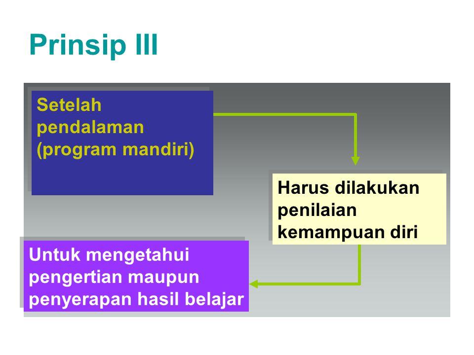 Prinsip III Setelah pendalaman (program mandiri)