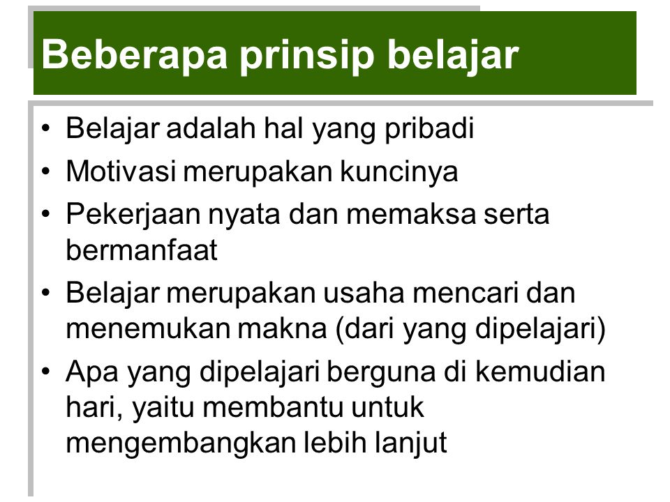 Beberapa prinsip belajar