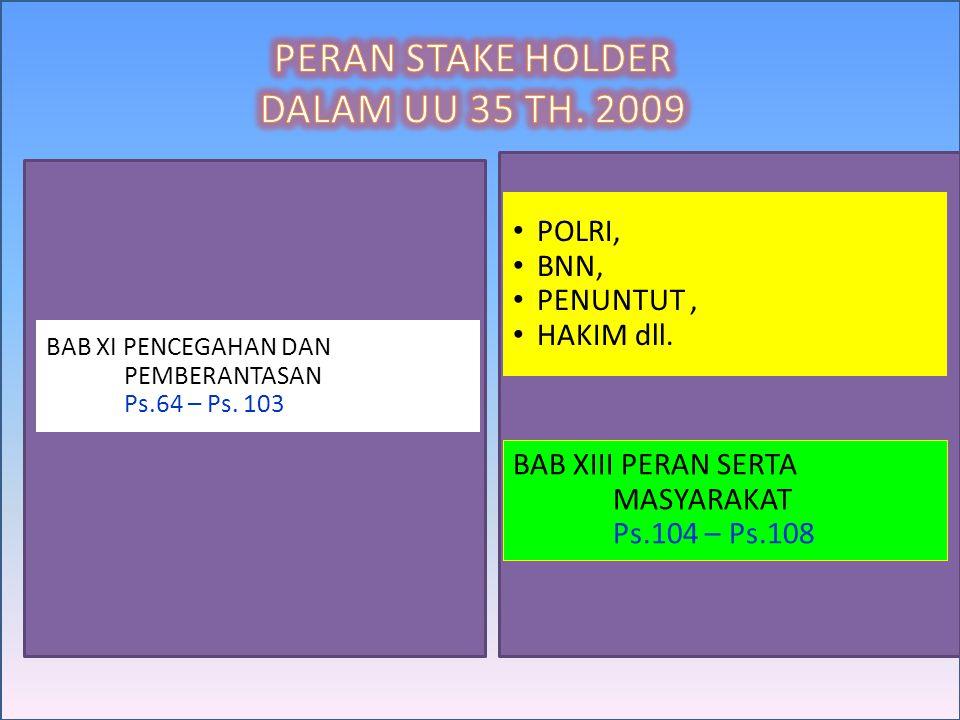 PERAN STAKE HOLDER DALAM UU 35 TH. 2009 POLRI, BNN, PENUNTUT ,