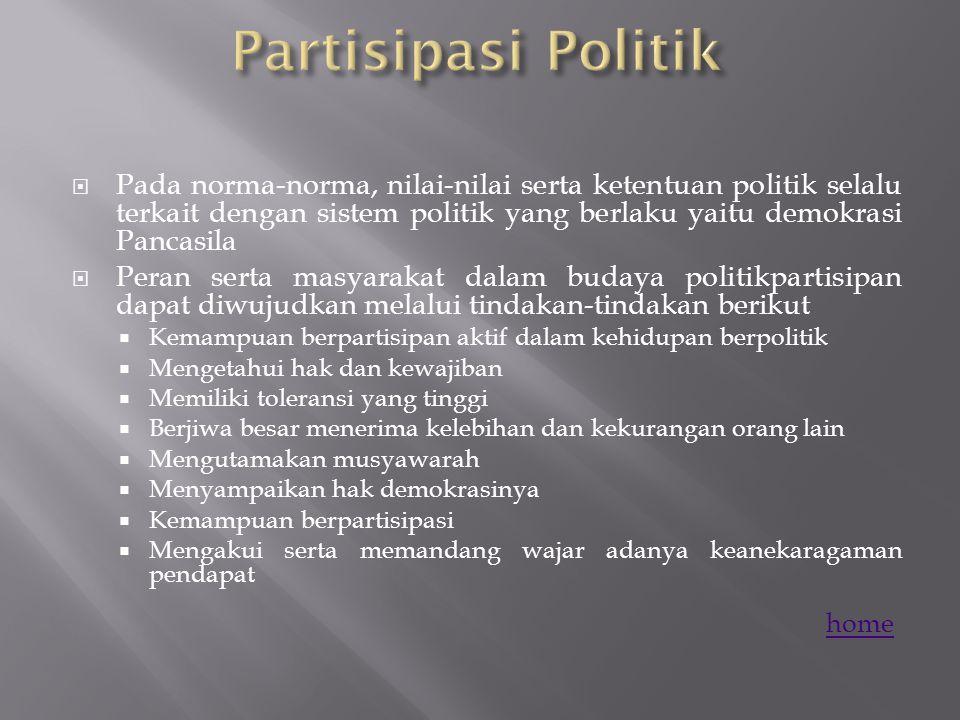 Partisipasi Politik Pada norma-norma, nilai-nilai serta ketentuan politik selalu terkait dengan sistem politik yang berlaku yaitu demokrasi Pancasila.