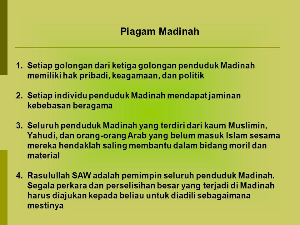 Piagam Madinah Setiap golongan dari ketiga golongan penduduk Madinah memiliki hak pribadi, keagamaan, dan politik.