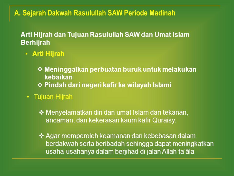 A. Sejarah Dakwah Rasulullah SAW Periode Madinah