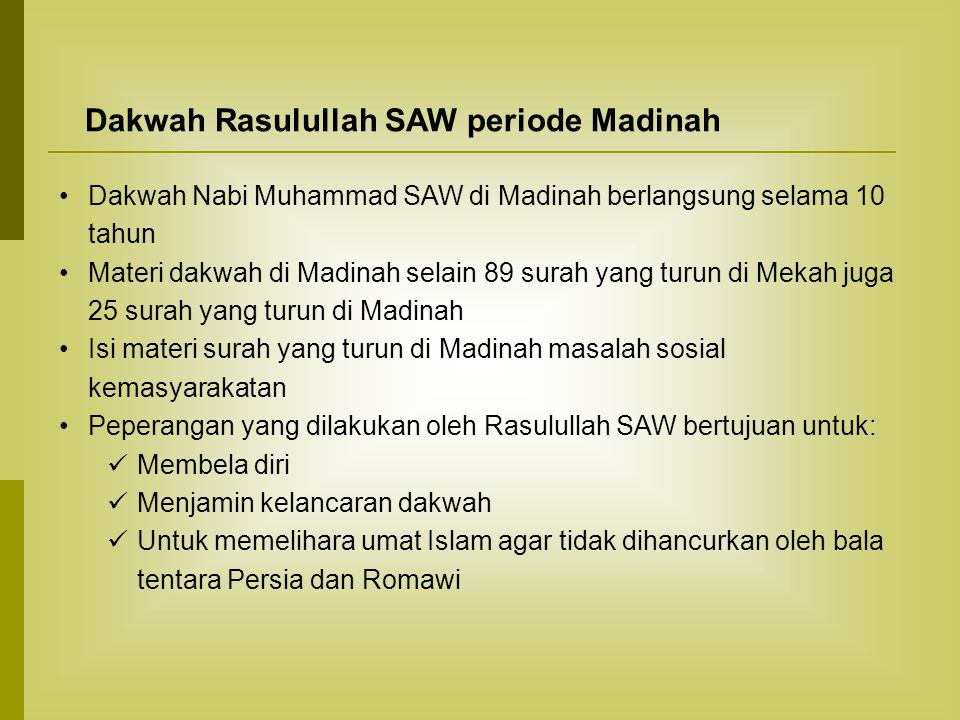 Dakwah Rasulullah SAW periode Madinah
