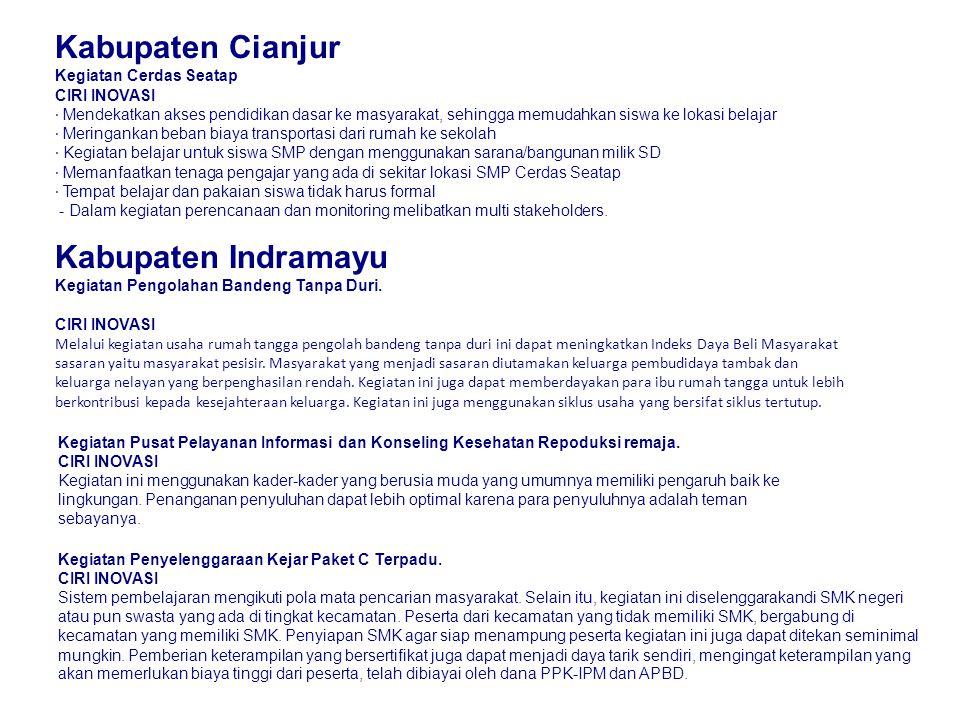 Kabupaten Cianjur Kabupaten Indramayu Kegiatan Cerdas Seatap