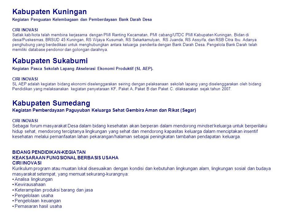 Kabupaten Kuningan Kabupaten Sukabumi Kabupaten Sumedang