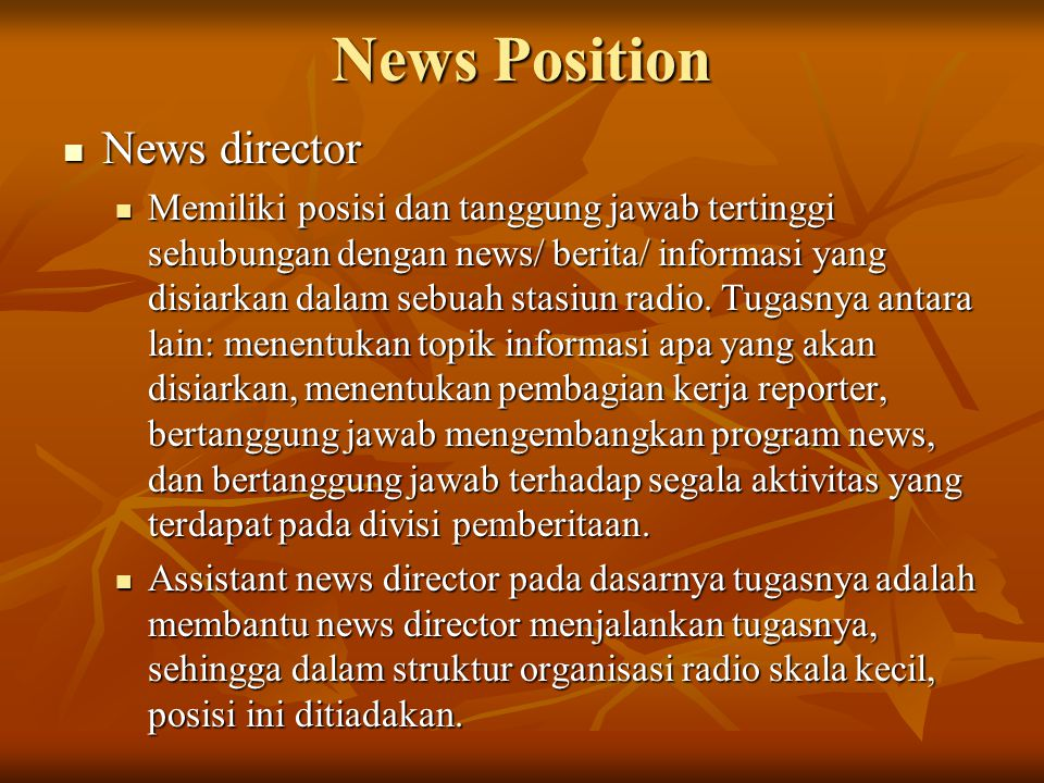 News Position News director